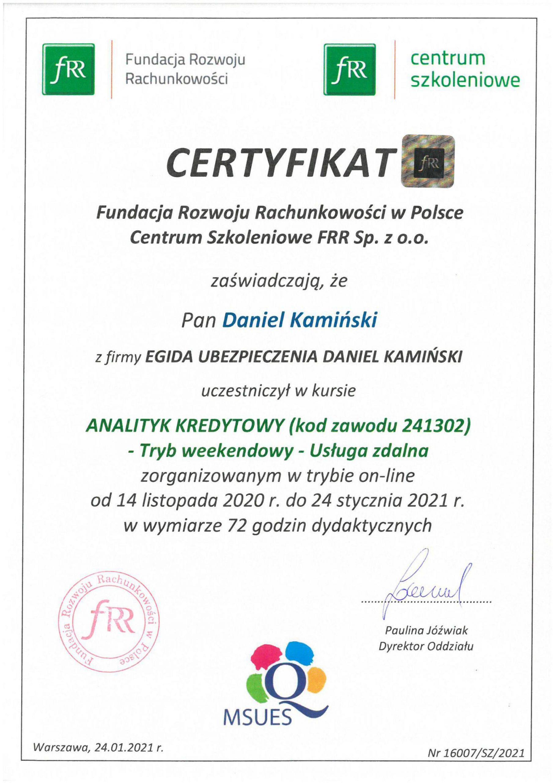 Certyfikat Analityk Kredytowy